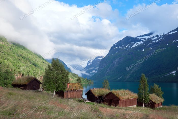 Traditional scandinavian old wooden houses