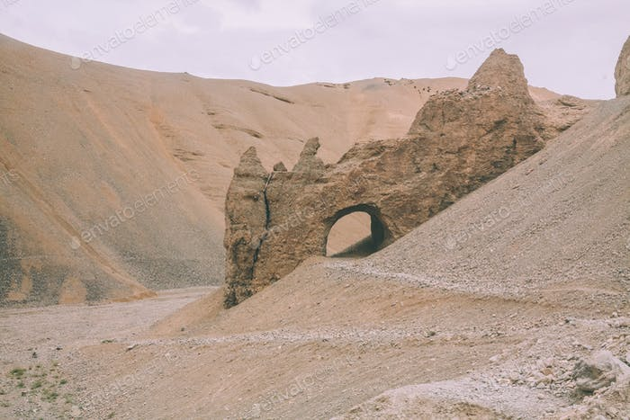 cave on rocky hill in Indian Himalayas, Ladakh region