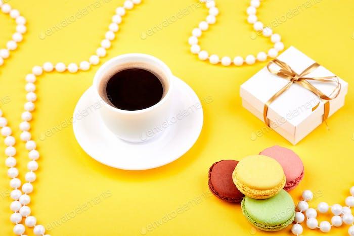 Sweet Dessert macaroon, coffee, gifts