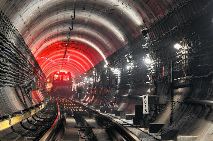 Train in underground tunnel