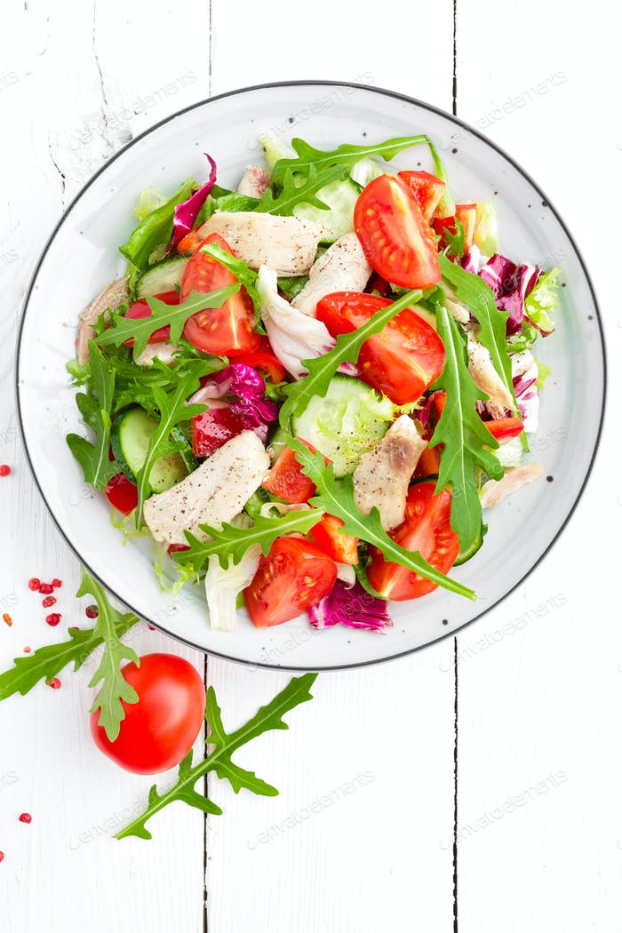 Chicken fillet salad with fresh vegetables