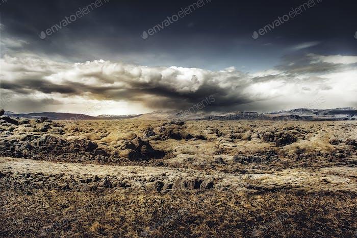 Amazing landscape Iceland beautiful mountains lava wild sunset panorama