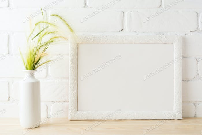White landscape frame mockup with yellow and green wild grass ea