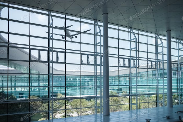 modern airport window scene with airplane
