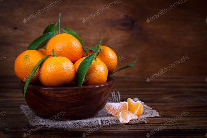 Mandarins or tangerines close up