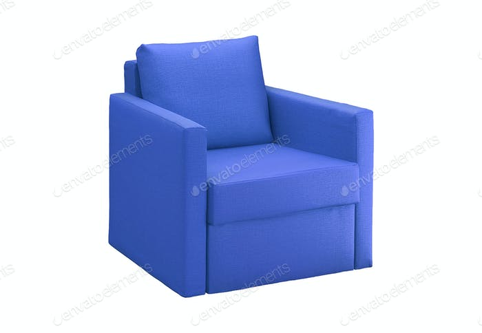 blue modern armchair isolated