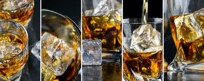 Collage with glasses whiskey or other alcohol, cubes ice