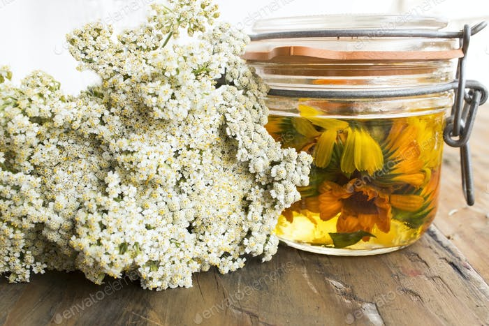 Herbal Medicine, Yarrow and Calendula Oil