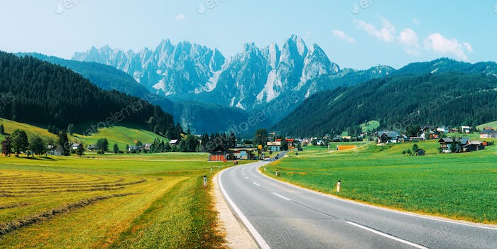 Highway in Gosau village at sunny day