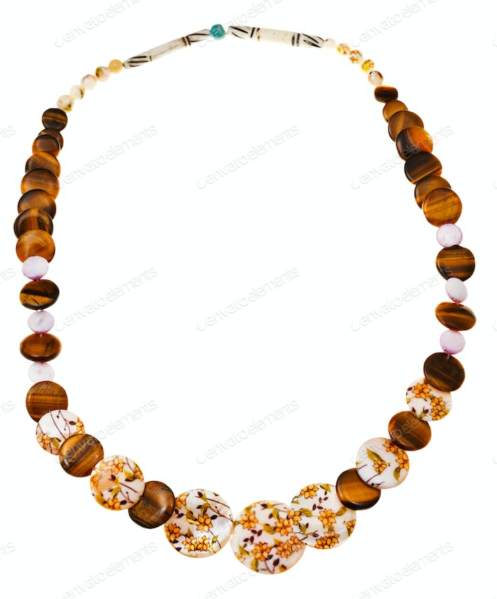 necklace from nacre, tigers eye, carved bone