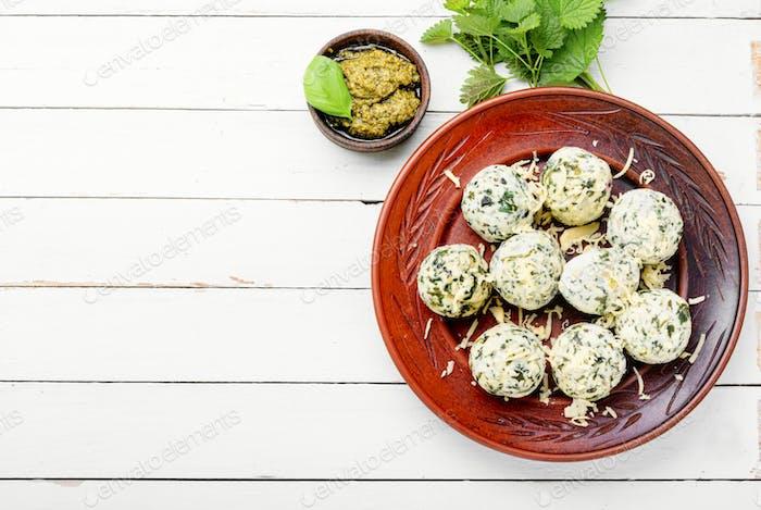 Curd dumplings with herbs