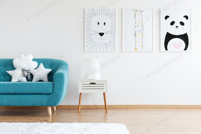Kid room with turquoise couch