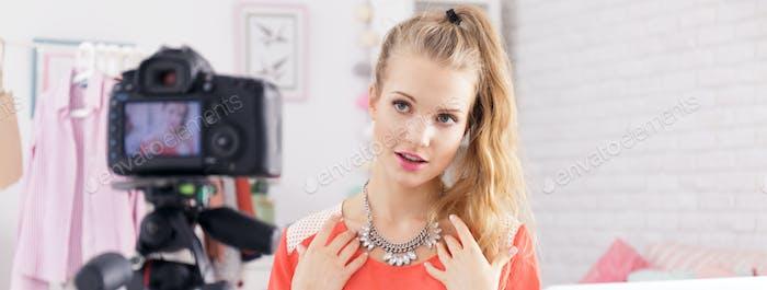 Teenage girl and blog