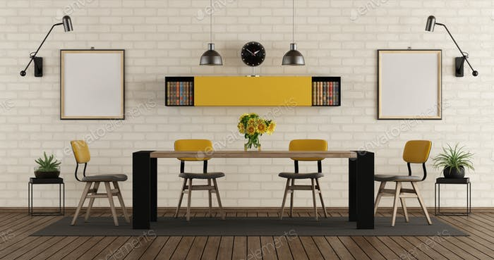 Modern dining room with black and yellow furniture
