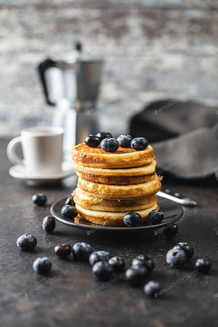 Sweet homemade pancakes and blueberries