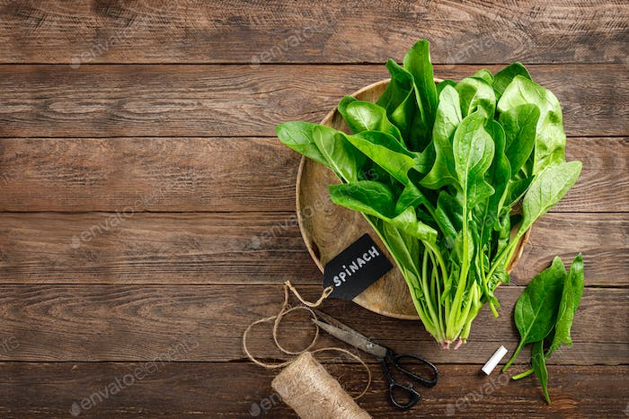 Fresh bundle of spinach on rustic wooden background
