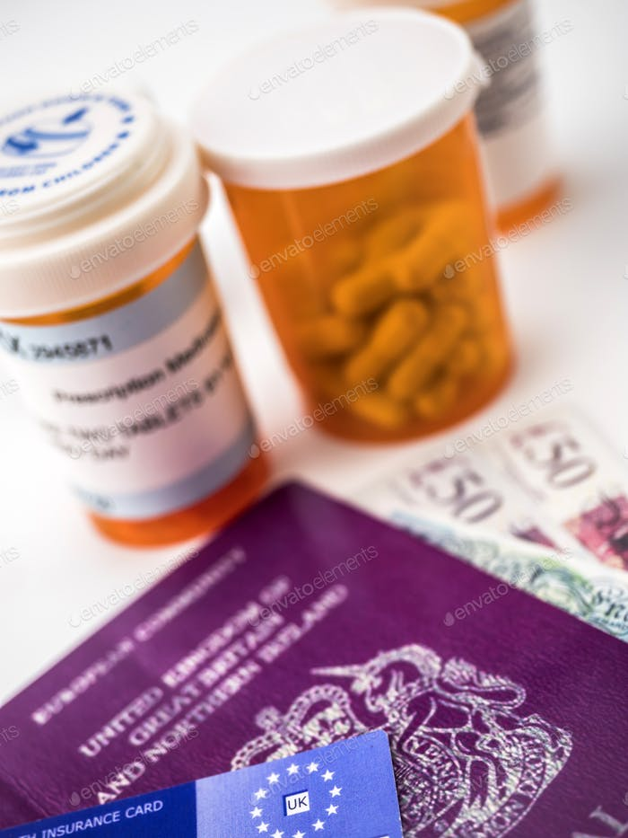 British passport along with several bottles of medicines