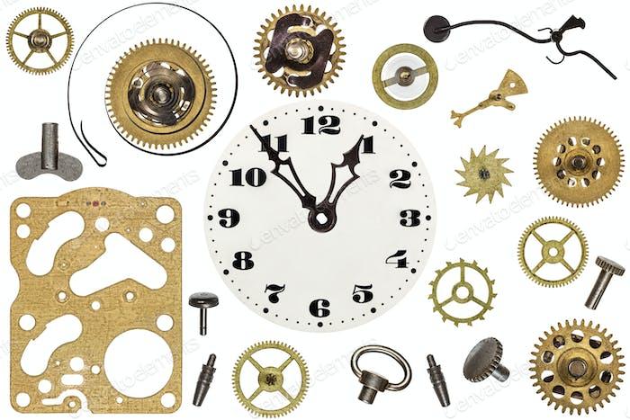 Ersatzteile für Uhr. Metallgetriebe, Zahnräder, Ziffernblatt und Ot