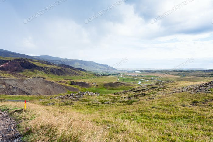 mountain landscape of Hveragerdi in Iceland