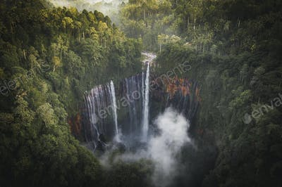 View of Tumpak Sewu Waterfalls, Indonesia