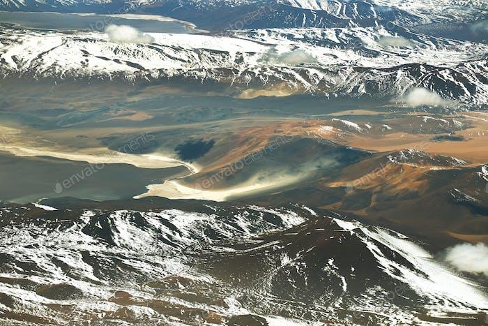 Aerial Atacama desert landscape