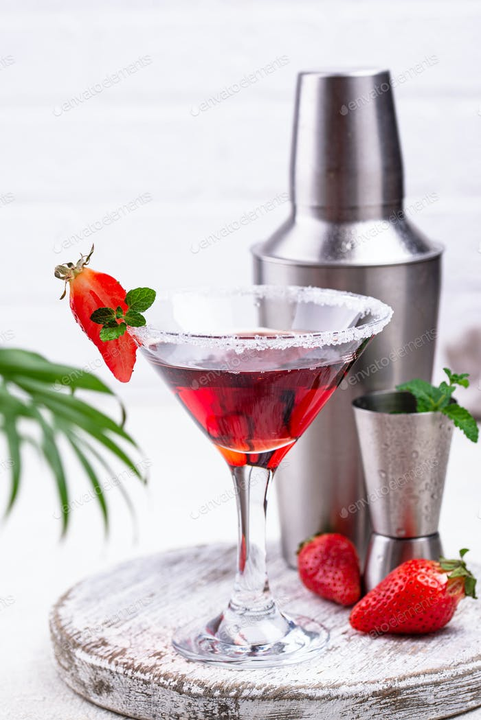 Strawberry martini. Sweet summer cocktail