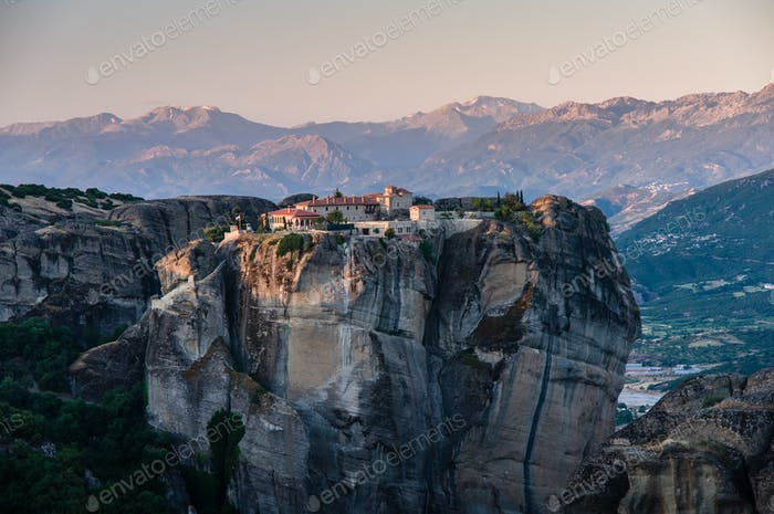 beautiful monasteries of Meteora valley in sunrise