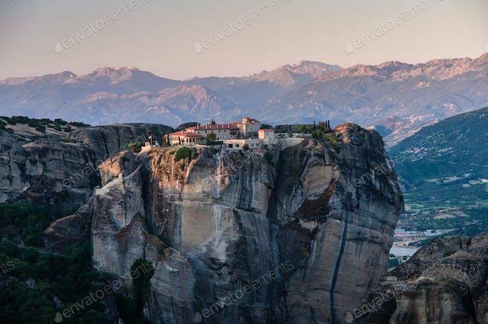 beautiful monasteries of Meteora valley in sunrise