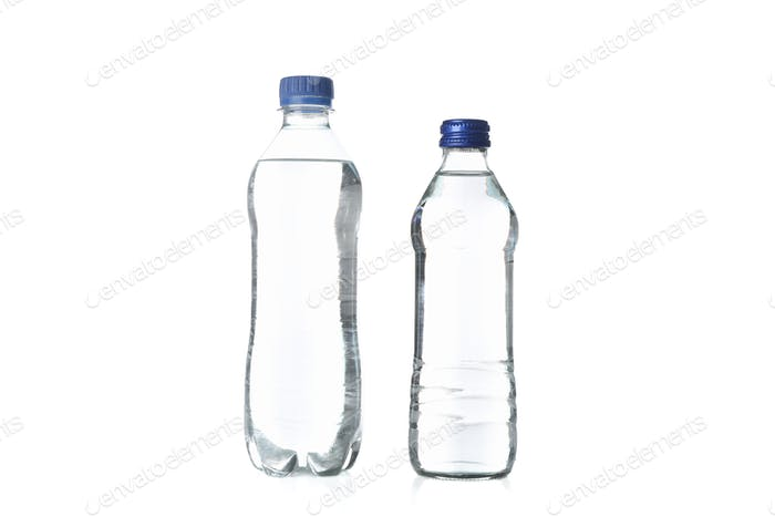Bottles with water isolated on white background