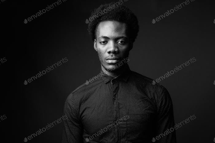 Black and white portrait of handsome African man