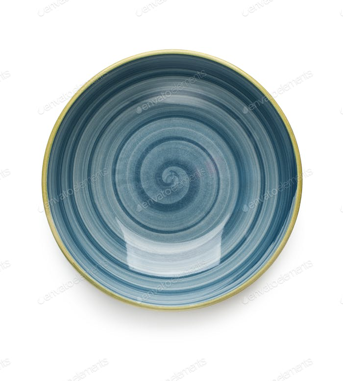 Blue soup plate on white background. View from above. Isolated.