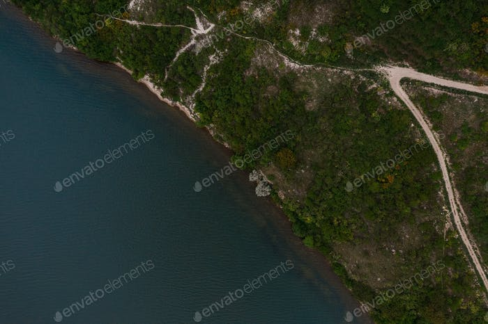 Top view of amazing natural view of lake shore