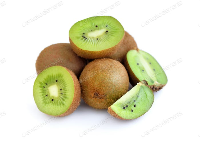 Whole kiwi fruit and his sliced segments isolated on white backg