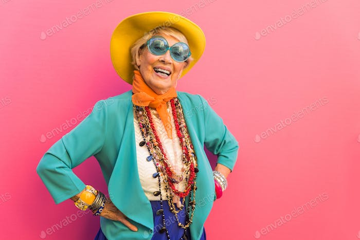 Senior woman with fancy style