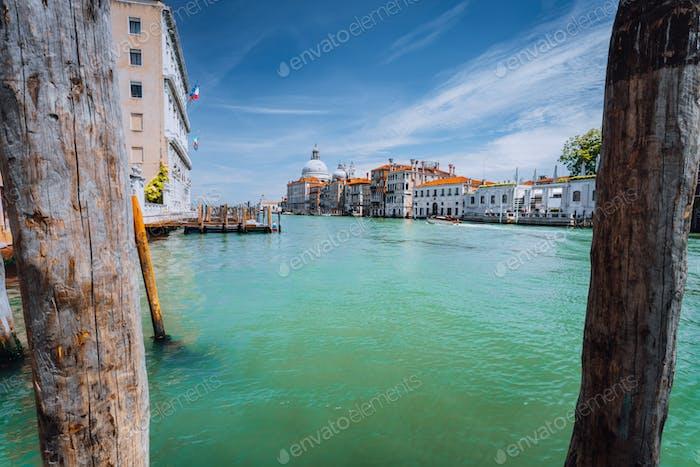 Canal Grande und Basilica Santa Maria della Salute am sonnigen Tag, Venedig, Italien