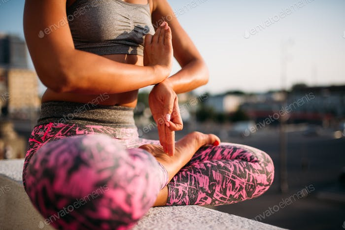 Female person body in yoga pose, yogi training