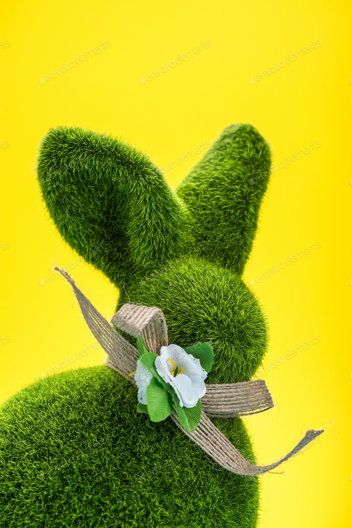 Easter Bunny Shape on Yellow Background