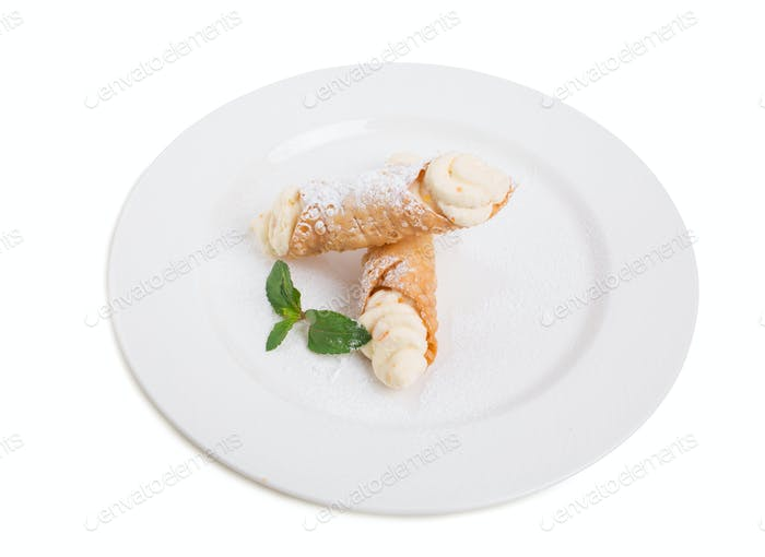 Waffle rolls with delicious whipped apricot cream.
