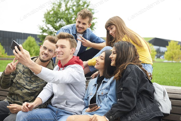 Group of friends making a selfie