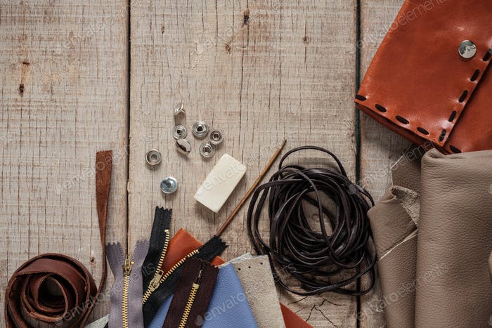 Leather equipment on wooden