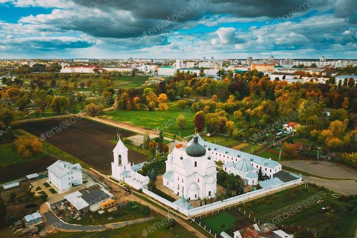 Mahiliou, Belarus. Mogilev Cityscape With Famous Landmark St. Nicholas Monastery.