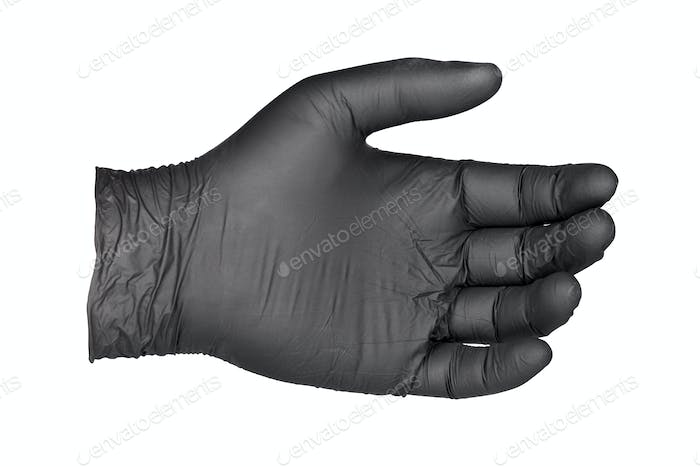 Black nitrile glove isolated on white background.