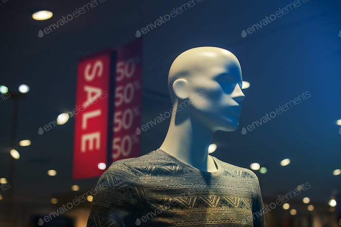 Discount store boutique mannequin, male figure portrait