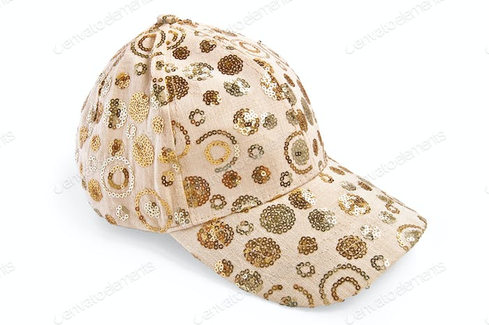 Cap beige patterned