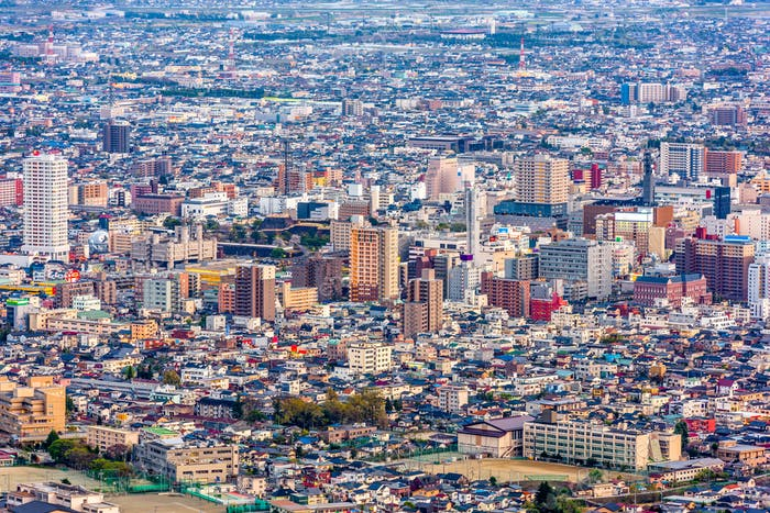 Kofu, Japan Aerial City Skyline