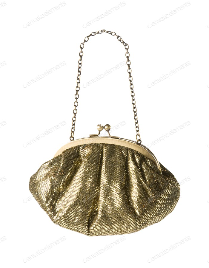 Golden mirror scales clutch with chain shoulder strap