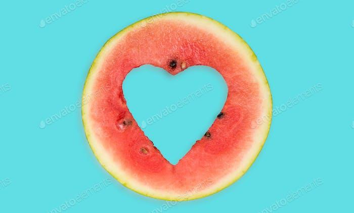 Watermelon hearth shape , creative food