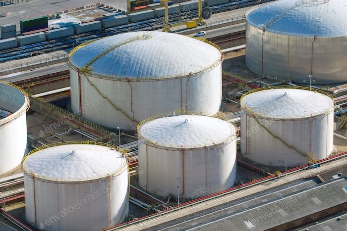 White gas storage tanks