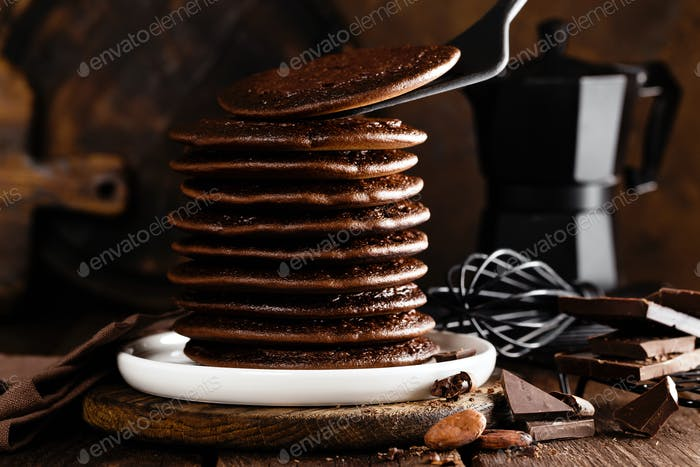 Stack of chocolate pancakes