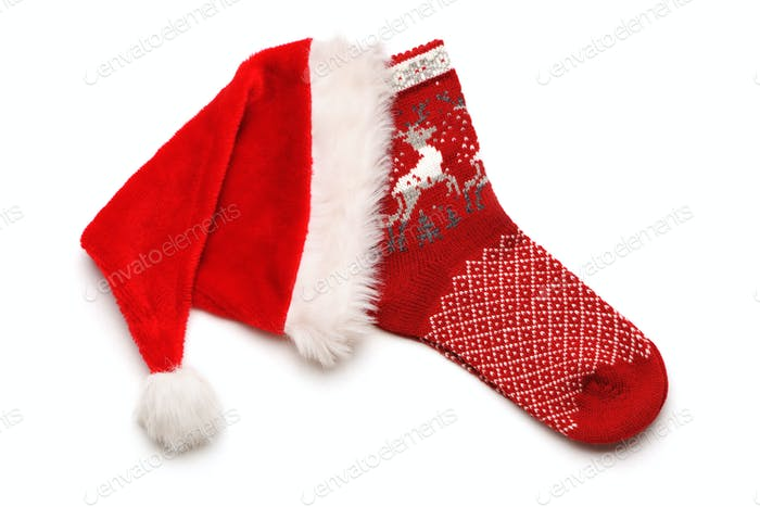 Christmas stocking and Santa hat